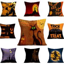 Home Decorative Linen Cushion Case Car Sofa Chair Decor Halloween Printing - $9.49