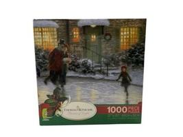 Ceaco Thomas Kinkade 1000 Piece Puzzle Skater's Pond - Ice Skating Christmas - $14.80