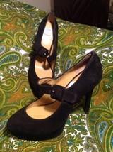 Nine West Hadaclue Women's Platform Pumps 6M Black Suede Leather Mary Janes - $29.93
