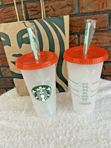 Starbucks 2021 Color Changing Swirl 2 Reusable Cold Cup Green Straw Red ... - $34.30