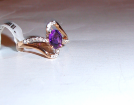 10K Rose Gold Purple Amethyst Oval Solitaire & W Topaz Ring, Size 7, 1.5... - $145.00