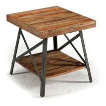 Contemporary Rustic Farmhouse Brown Distressed Wood Metal End Table w/ S... - $197.50