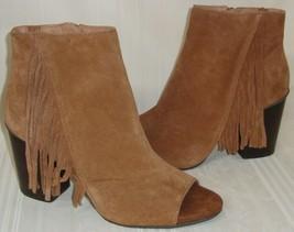 Kenneth Cole Frida World Suede Fringe Peep Toe Heel Booties Boots Size US 9 - $49.49