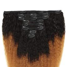 Feelgrace Kinky Straight Clip In Human Hair Extension Ombre 2 Tone 1B/Brown Colo image 2
