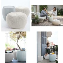 Keter Urban Knit Pouf Ottoman Set Of 2 With Accent Table For Patio Decor... - £112.57 GBP+