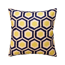 Contemporary Honeycomb Navy Yellow Decorative Pillow Cover HandmadeWool ... - €48,14 EUR