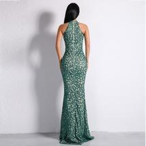 Celebrity Style Sleeveless Green Halter Flash Sequined Elegant Bodycon Dress image 3