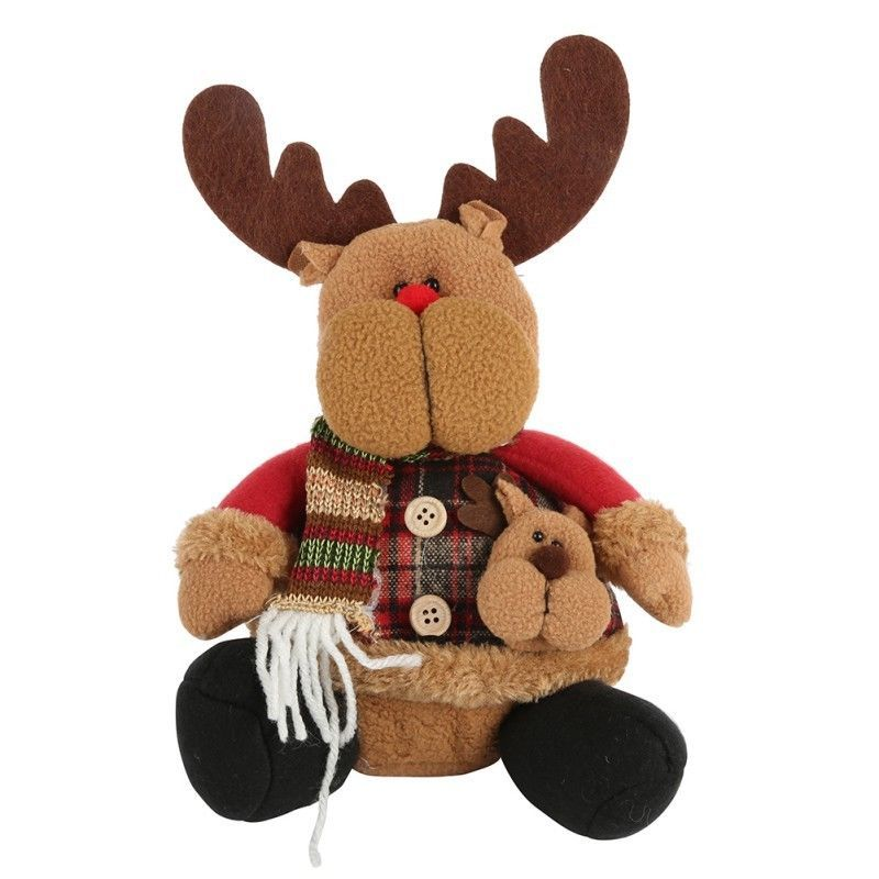 Christmas Figure Santa Claus Snowman Deer Sitting Decoration Xmas Gift Toy Decor