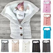 Newborn Baby Winter Warm Sleeping Bags Infant Button Knit Swaddle Wrap S... - $32.90