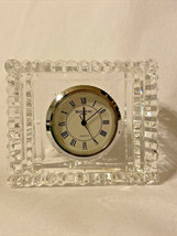 "Waterford Crystal Square Clock Desk Table Small 3"" Accessory - $16.88"
