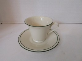"LENOX SHORT FOOTED TEACUP & SAUCER IVORY WITH CHRISTMAS GREEN RIM ""SPECI... - $4.90"