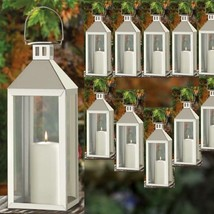 Lot of 30 Large Silver Lantern Stainless Steel Tall Candle Holder Center... - £440.55 GBP