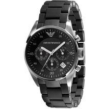 Emporio Armani AR5868 Black Sport Silicone Chronograph Womens Watch - $109.90