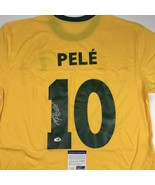 Autographed/Signed PELE Brazil Yellow Soccer Futbol Jersey PSA/DNA COA A... - $324.99