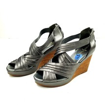 COLE HAAN Women's Shoes Metallic Leather Strappy Sandals Wedge Zip Back ... - $40.53