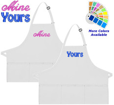 Apron Embroidered with Mine Yours Embroidery Design Wedding Gift - $37.39+
