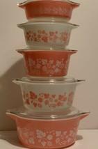 Vintage Pyrex Pink Gooseberry 10 Piece Casserole Set 471-475 Complete Set  - $321.75