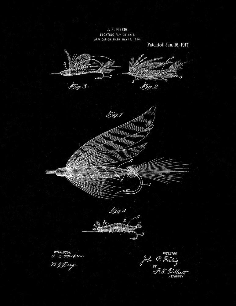 Primary image for Floating Fly Or Bait Patent Print - Black Matte