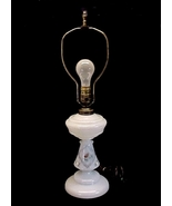 Butterfly Rose White Bristol Glass Electric Tab... - $49.95