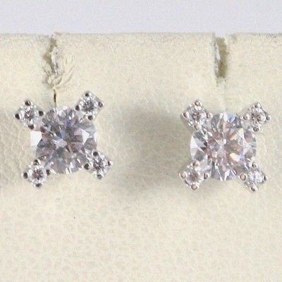 BOUCLES D'OREILLES OR BLANC 18K, CROIX AVEC ZIRCONIA CUBES, MADE IN ITALY, 750