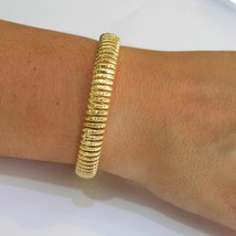 SOLID 18K YELLOW GOLD ELASTIC BRACELET BIG WAVE 11 MM, FINELY WORKED SEMI RIGID image 2