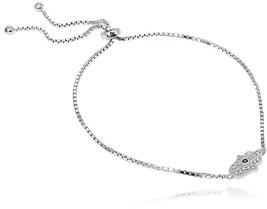 LOVVE Sterling Silver Cubic Zirconia Hamsa Adjustable Bolo Bracelet - $73.41