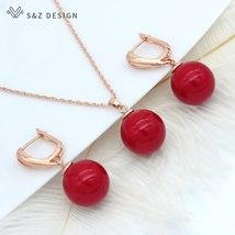 S&Z New Trendy Round Imitation Pearl Dangle Earrings Jewelry Set Europe America  - $14.17