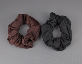 D Brown Black 2 jersey ponytail holder scrunchies hair elastic tie band ... - $4.42