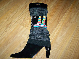 One Size Adult Isadora Paccini Black Gray Pattern Leg Warmers Hoisery New - $12.00