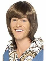Short Brown Wavy Wig, 70's Heartthrob Wig, Popstar Fancy Dress Accessory... - £14.59 GBP