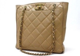 AUTHENTIC CHANEL Caviarskin Leather Quilted Chain Tote Bag Beige - $950.00