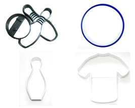 Bowling Ball Pins Shirt Sport Activity Hobby Set Of 4 Cookie Cutters USA... - $7.99