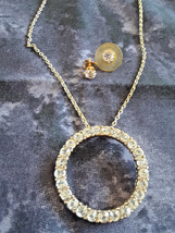 STUNNING VINTAGE ESTATE ETERNITY CIRCLE CLEAR STONE PENDANT NECKLACE  EA... - $4.00