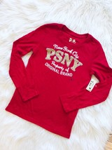 Long Sleeve Graphic Bling Tee Red Top PS Aeropostale Girls 8 New - $9.89
