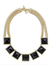 MICHAEL KORS MKJ2983 Pyramid Collar Necklace, Golden/Black BNWT $195 - $149.75
