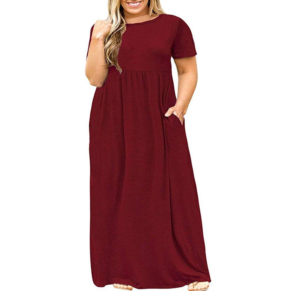 Maternity Dress Solid Color Loose Comfy Mom Dress