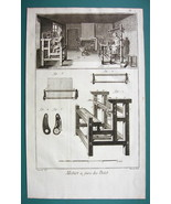 1763 DIDEROT PRINT - Stocking Frame View of Shop and Machine - $16.83