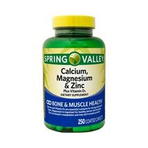 Spring Valley Calcium Magnesium & Zinc Bone & Muscle Health 250 Coated Caplets.. - $18.80