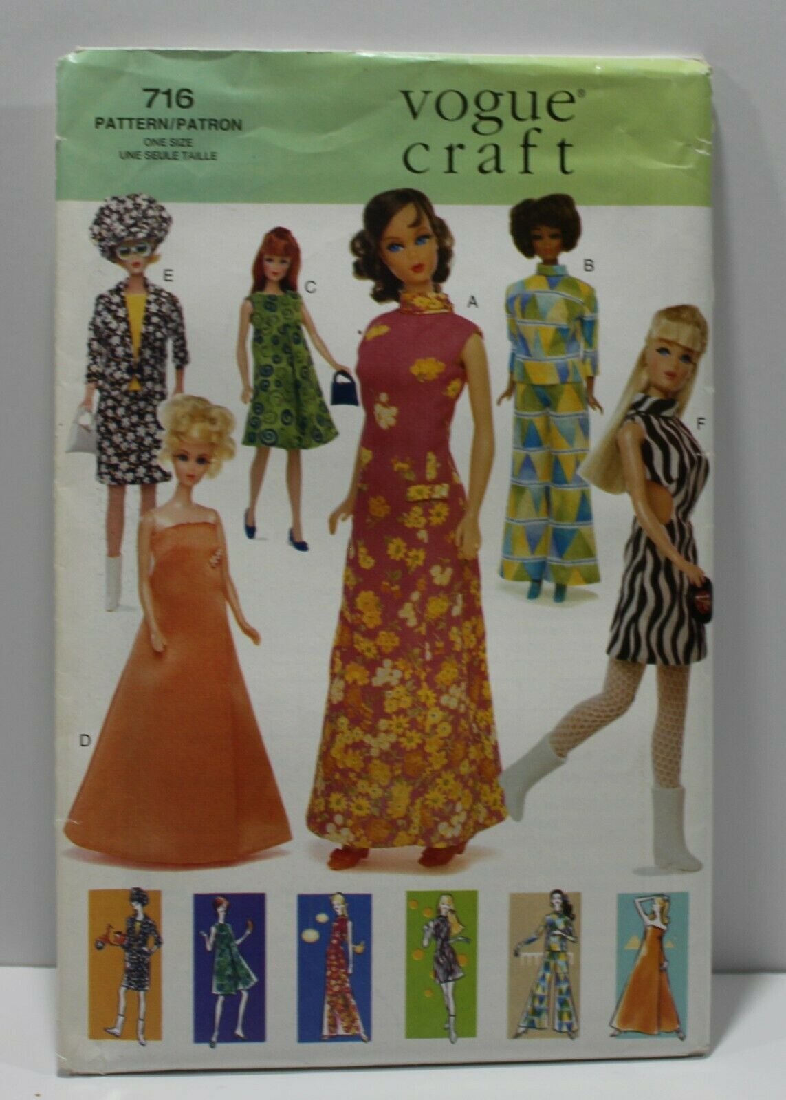 "Vogue Sewing Pattern 716 11.5"" Doll Clothes 60s 70s Fashion Vintage"