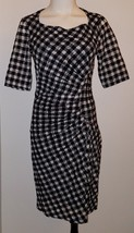 Maeve Anthropologie Black White Plaid Dress Size 2 Career Semi-Sheer Lined - $28.98