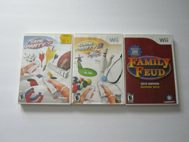 Lot of 3 Nintendo Wii Games Game Party 2 & 3 Family Feud 2010 Edition CO... - $18.08