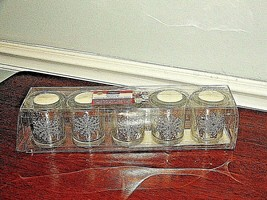 new in box 5 Piece jewel  silver snowflake sparkle Votive Candle Gift Bo... - $29.69