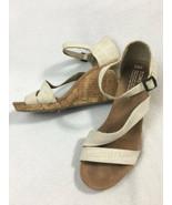 Toms 9.5 Clarissa Natural Linen Cork Wedge Heels Strappy Buckle Sandals ... - $18.99