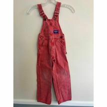 Vintage Oshkosh Red Overalls size 5 Kids Vintage Jean Overalls  - $21.78