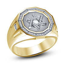 14k Yellow Gold Plated 925 Silver Round Cut White CZ Mens Jewish David Star Ring - $101.20