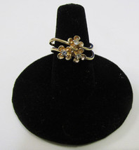 Avon Flower Ring Gold Tone Metal 3 Flowers w/ Clear Rhinestone Centers S... - $8.90
