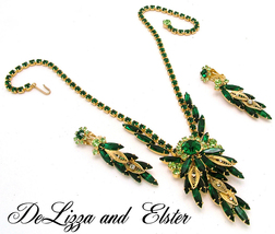 Juliana Necklace and Earrings Set D&E Emerald Green With Gold Filigree L... - $350.00