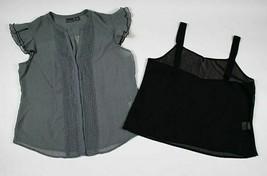 COVINGTON WOMENS XL 2 PIECE SET BLACK SHEER BLOUSE & CAMI POLKA DOT PLEATS - $16.82