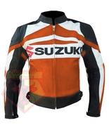 SUZUKI GSX ORANGE MOTORBIKE ARMOURED COWHIDE LEATHER MOTORCYCLE BIKER JA... - $194.99