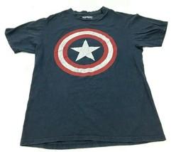 MARVEL Captain America Shirt Size Medium MD Blue Short Sleeve Graphic He... - $17.83